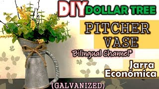 Dollar Tree DIY Farmhouse Decor | Galvanized Pitcher Vase | English CC | Jarra Fácil y Económica