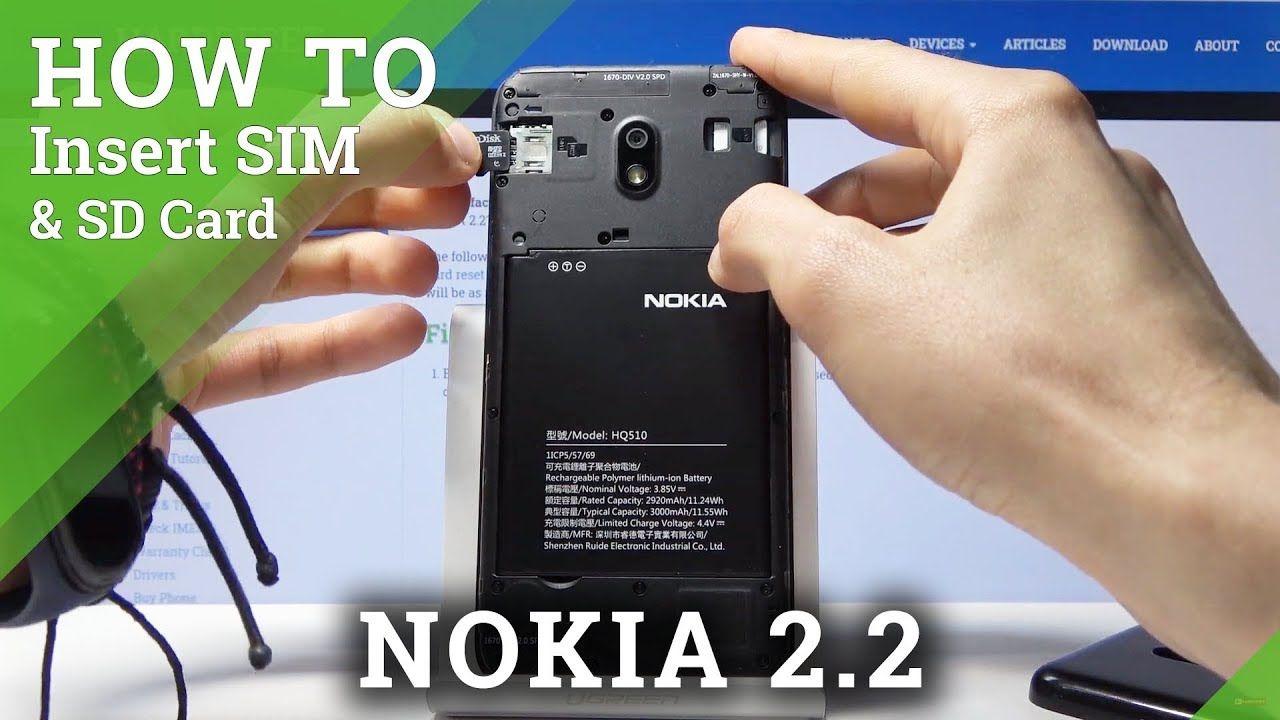 To insert a sim or microsd card, insert a sim tool into the small hole to eject the sim and microsd tray. How to Insert Nano SIM Card to NOKIA 2.2 - Micro SD ...