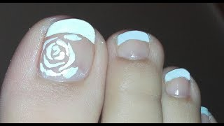 White French Pedicure with Rose: Toenail Art Design Tutorial | Rose Pearl