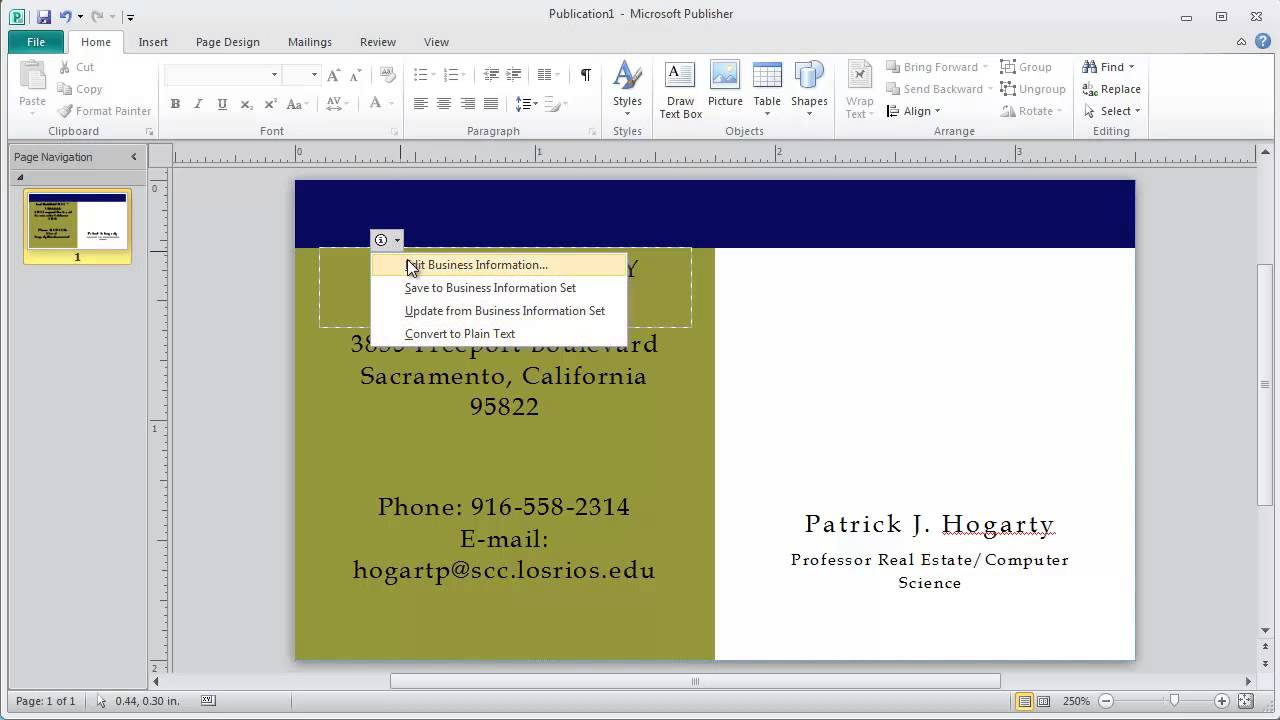 how to use microsoft publisher templates to create a business card youtube