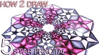 How To Draw Fractals - Golden Ratio Star Pattern - Tutorial Video HD