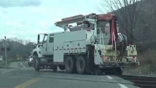 Norfolk Southern Crews Putting a Hi-Rail Truck on Track in Norton, VA on 3/29/18.