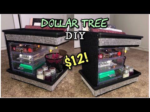 DIY - LIGHTED Dollar Tree Makeup Organizer!