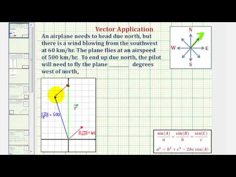Vector Application Using Law of Sines: Find Direction Angle Needed