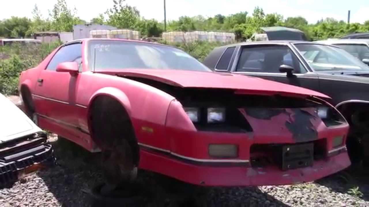 Camaro Wrecking Yards : S camaro iroc z in the junk yard youtube