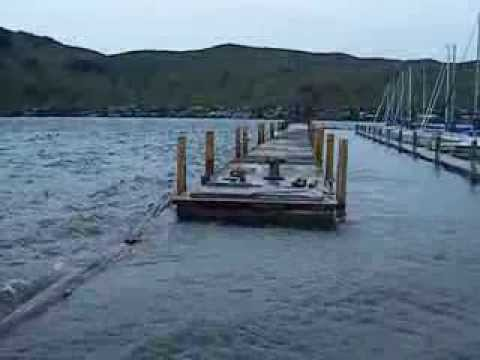 How a breakwater works to protect boats in a marina on Okanagan Lake.