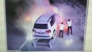 """Поджог внедорожника возле казино """"Астория"""" в Капшагае"""
