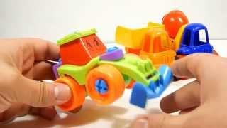 Toys for Children. Dump truck, Concrete mixer, Truck .самосвал+бетономешалка+погрузчик.