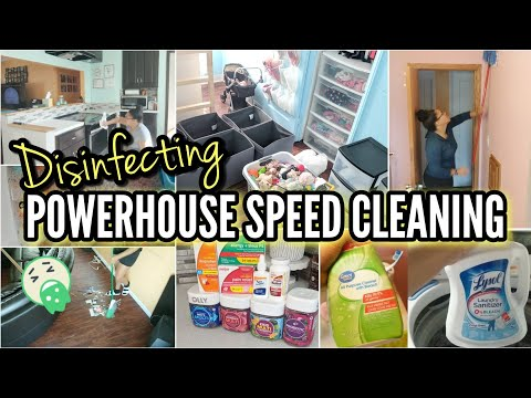 WHOLE HOUSE CLEAN WITH ME⚡POWERHOUSE SPEED CLEANING 😷 DISINFECTING THE HOUSE AFTER BEING SICK!!