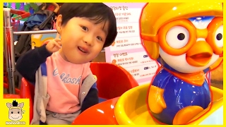Indoor Playground Fun for Kids Finger Family Song Play Slide Pororo Cafe | MariAndKids Toys