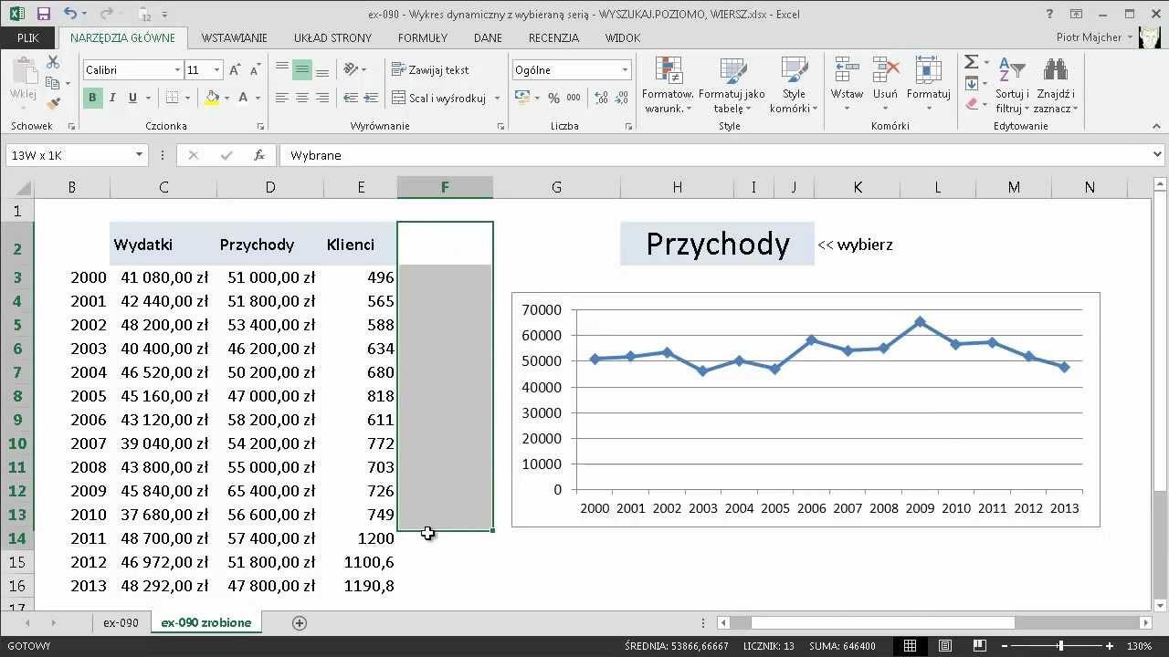Excel 090 Wykres Dynamiczny Z Wybieraną Serią Wyszukajpoziomo Wiersz