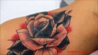 Bebeto Tattoo studio - Tatuagem de rosa tradicional - Old school tattoo - rose tattoo.