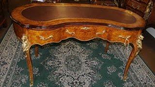 Walnut Kidney Desk French Empire Bureau Plat Writing Table