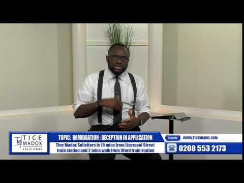 Tice Madox Solicitors - Immigration: Deception in Application by Justice Maduforo (Solicitor)