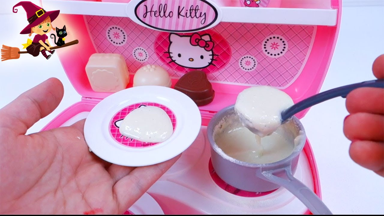Mini cocina de hello kitty preparamos papilla youtube for Utensilios de cocina hello kitty