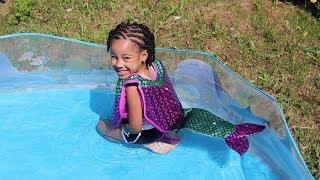 Mermaid in Our Backyard Pool! Kids Pretend Play | FamousTubeKIDS