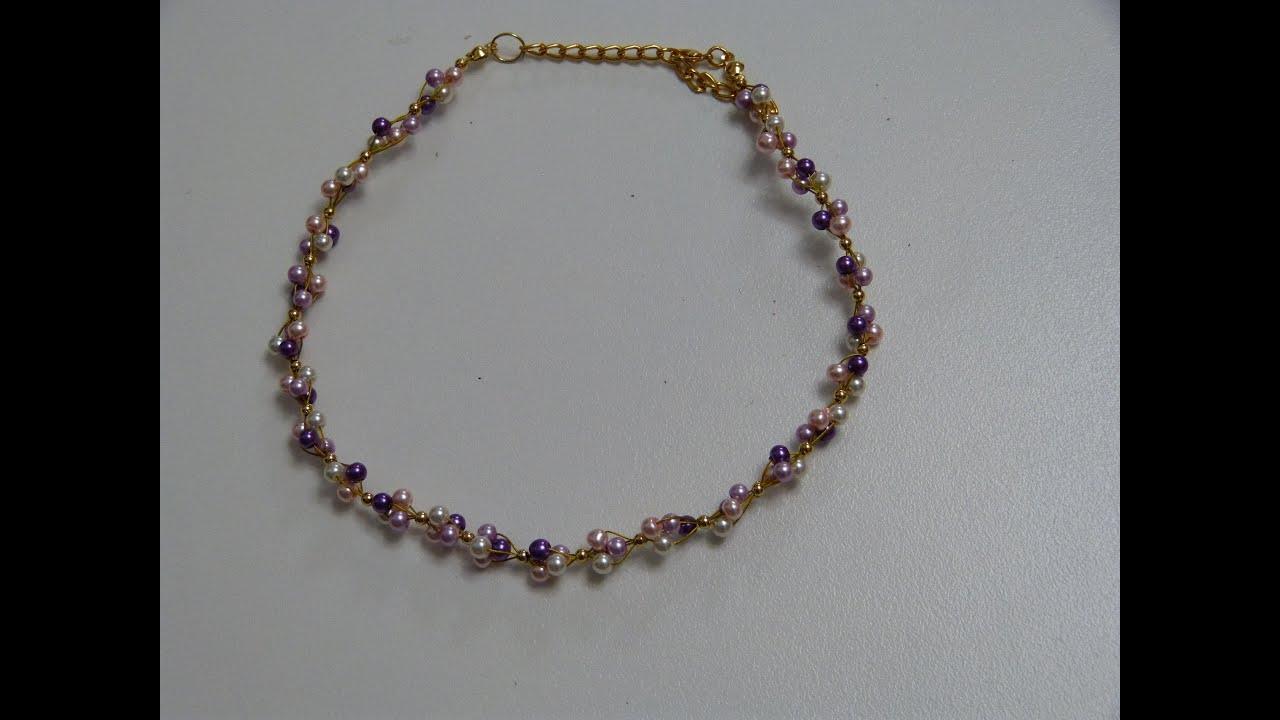 como elaborar collares con perlas, guaya y balines. Manualidades la Hormiga , YouTube