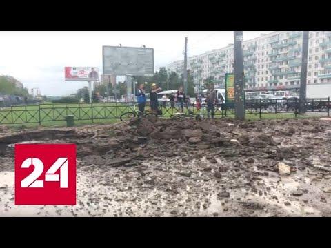 Грязевой фонтан залил пешеходов на окраине Петербурга