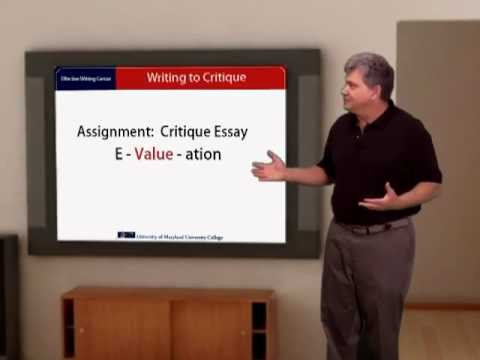How to Write a Critique Essay (An Evaluation Essay_