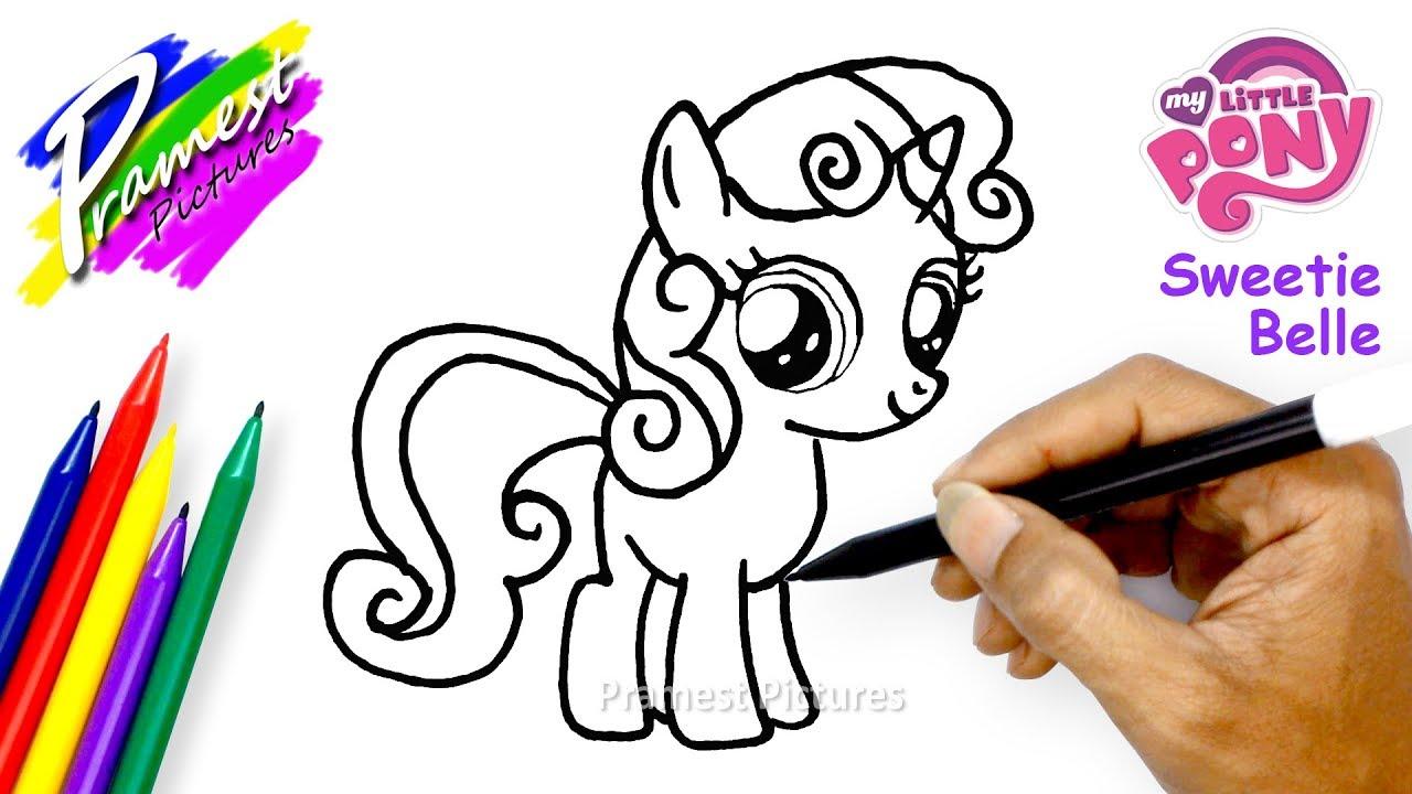 Sweetie Belle Cara Menggambar Dan Mewarnai Gambar Kartun Kuda Poni Youtube