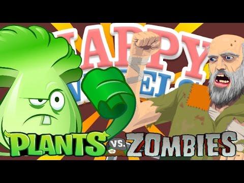 Happy Wheels VS Plants Vs Zombies! | EPIC PvZ Mod CUSTOM HAPPY WHEELS LEVEL!