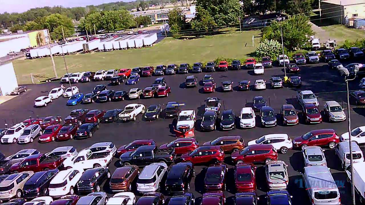 drone fly by of new parking lot 1 champion ford volvo. Black Bedroom Furniture Sets. Home Design Ideas