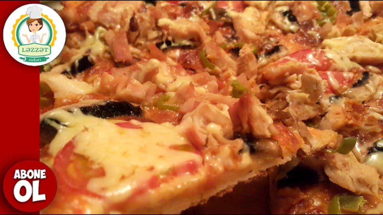 Toyuqlu , Göbələkli, Pizza Hazirlanmasi ( Tavuklu, Mantarlı Pizza  Nasıl Yapılır )
