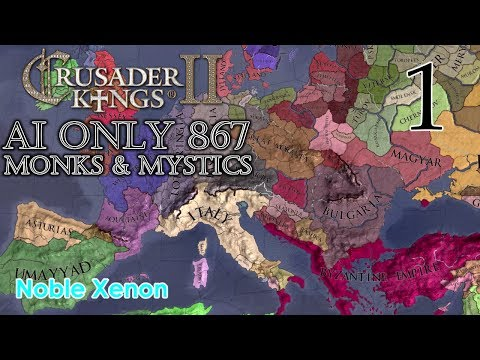 Crusader Kings II - AI Only 867 (Monks & Mystics) - Episode 1  