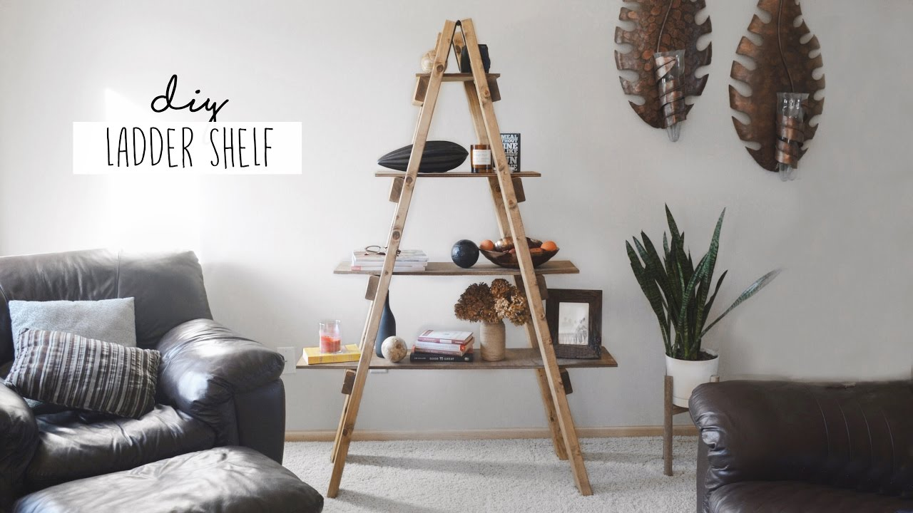 diy ladder shelf youtube. Black Bedroom Furniture Sets. Home Design Ideas