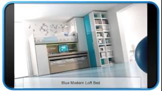 Blue Modern Loft Bed