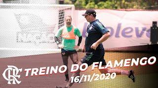 Titulo: TREINO DO FLAMENGO – Elenco inicia semana de atividades no Ninho do Urubu