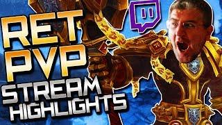 Ret Paladin PvP BFA: Stream Highlights (Low MMR 2V2 Arenas)