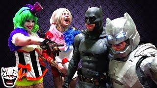 HARLEY QUINN & LADY JOKER vs BATMAN at MEGACON!! Real Life Superhero Movie!!