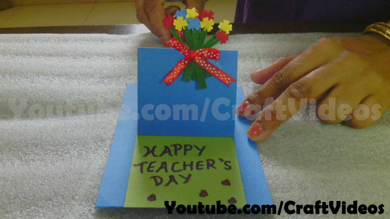 Teachers Day Card Making Ideas Part - 47: Pop Up Slider Card | How To Make A Teachers Day Card | 5th September -  YouTube