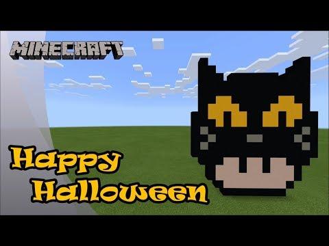 Minecraft: Pixel Art Tutorial and Showcase: Black Cat Mario Mushroom (Happy Halloween) thumbnail