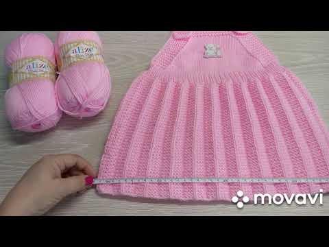 Вязаный сарафан спицами для девочки