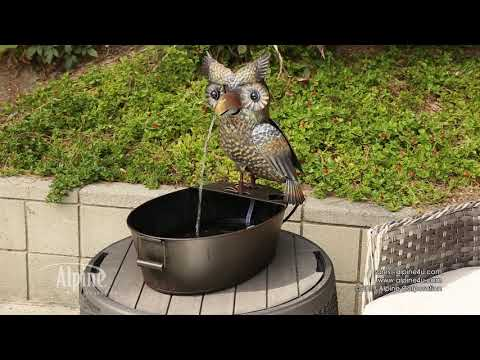 "23"" Metal Owl Fountain"