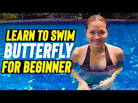 BEGINNER GIRL learn to SWIM BUTTERFLY in one lesson