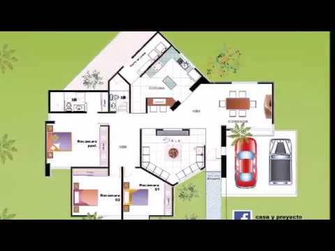 Plano de casa en terreno 20 x 20 metros youtube for Casas modernas 10 x 20