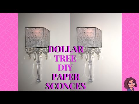 DOLLAR TREE DIY GLAM VELLUM PAPER CANDLE WALL SCONCES | WALL DECOR