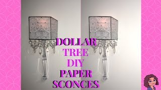 DOLLAR TREE DIY GLAM CRYSTAL WALL SCONCES | VELLUM PAPER | PAPERY DECOR | CANDLE HOLDER