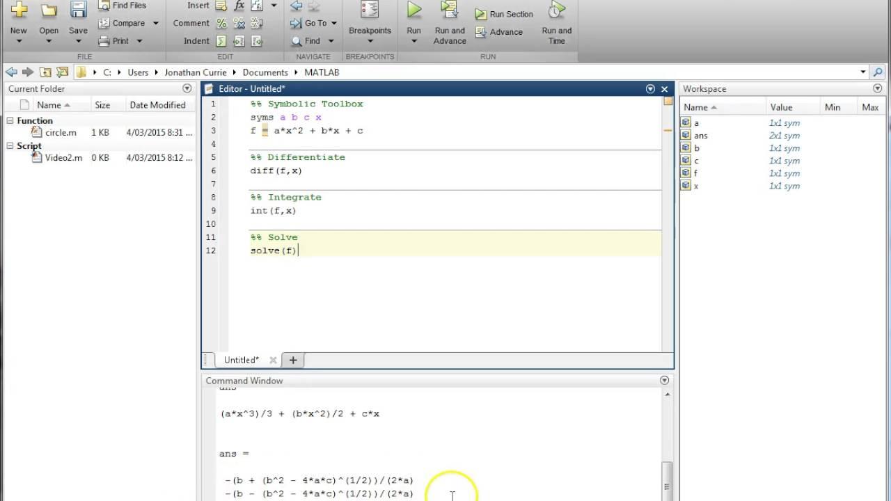 Matlab Introduction Symbolic Toolbox Youtube