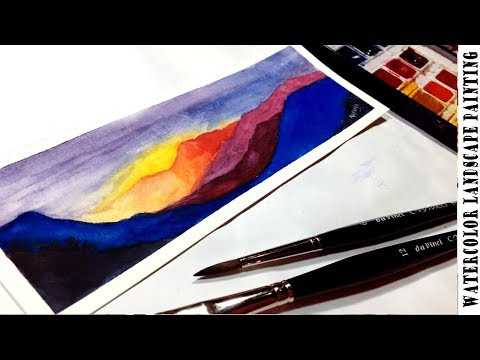 Easy Mountain Evening View Watercolor Landscape Painting | Kalaayug