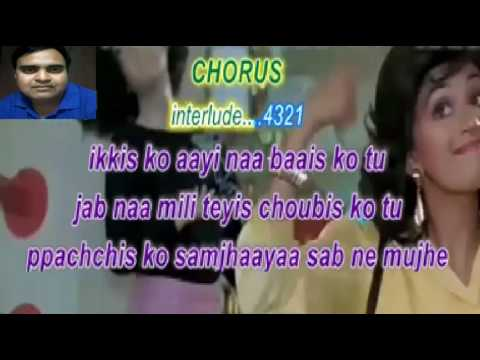 Ek do teen char-Tezaab- Amit Kumar- karaoke with chorus by Rajesh Gupta