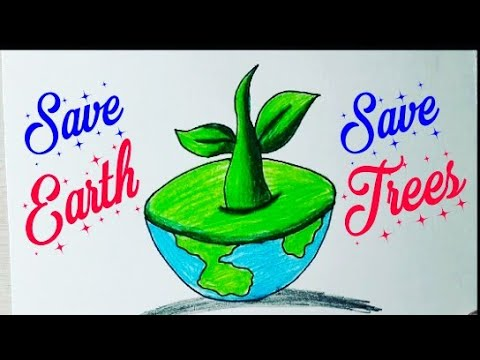 How To Draw Save Trees Save Earth Drawing For Beginners Very Easy