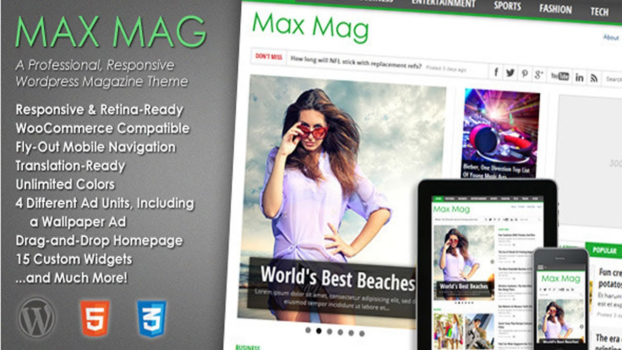 Max Mag - Responsive Wordpress Magazine Theme v2.6 - YouTube