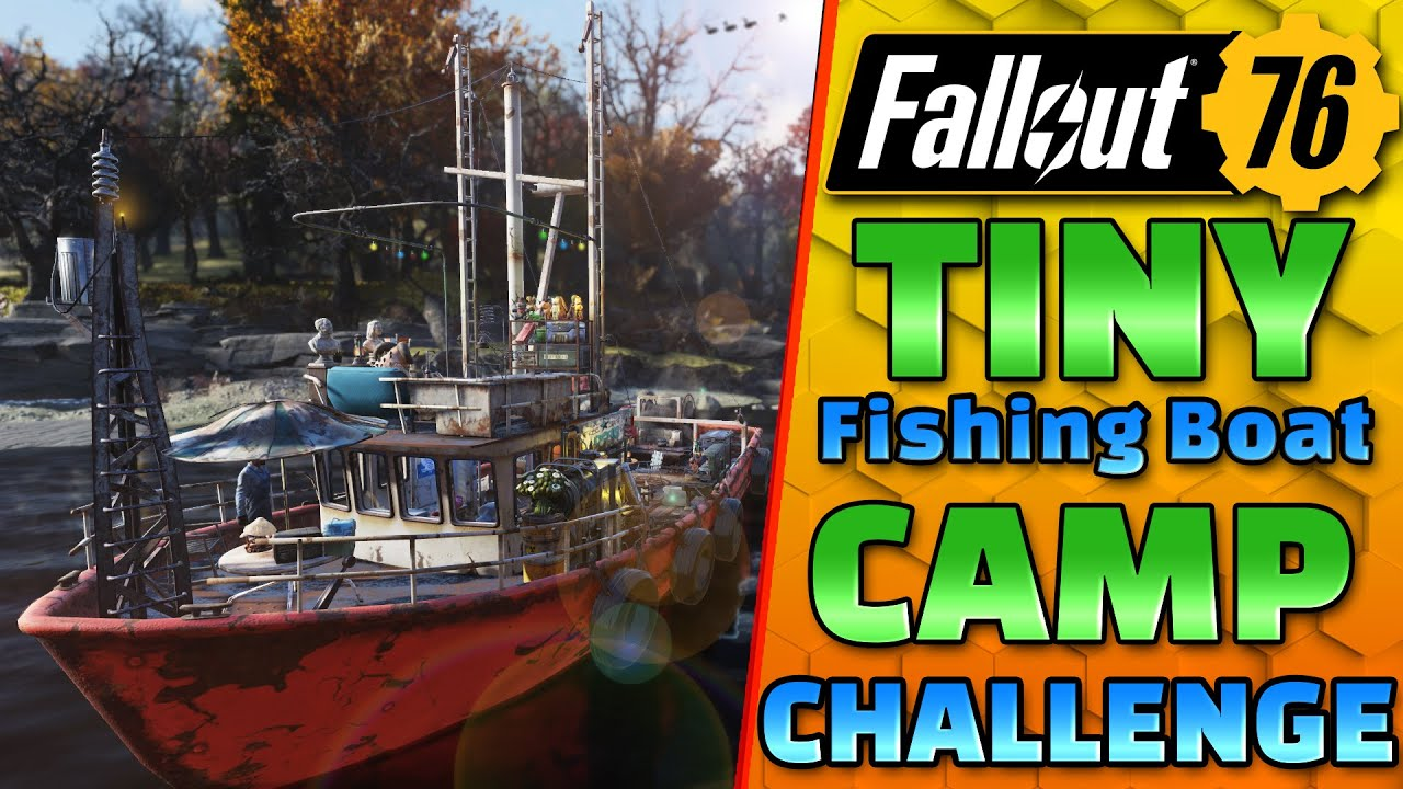 TINY CAMP CHALLENGE #2   Fishing Boat Home Build   Fallout 76 CAMP Building