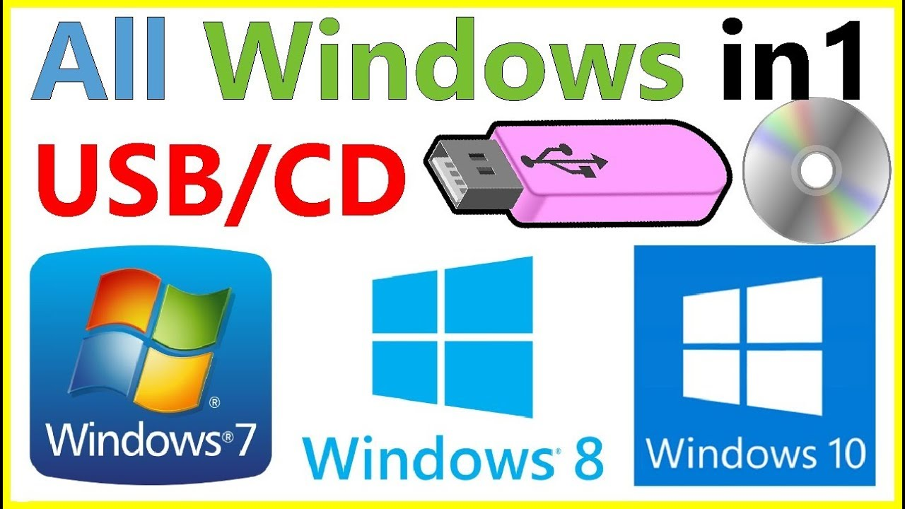 Win7 USB Bootable Flash Drive 16GB Windows All-in-One Win10 Win8.1