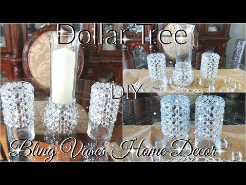 DIY DOLLAR TREE BLING VASES AND CANDLE HOLDER DECOR PETALISBLESS 🌹
