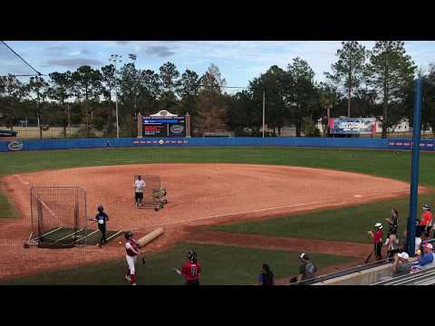 KaiLi Gross competing in the home run derby at the 2017 Univ of Florida winter softball camp